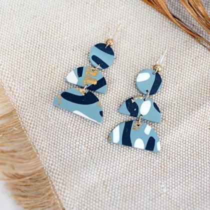CLAY EARRINGS Pastel Blue Dangle Po..
