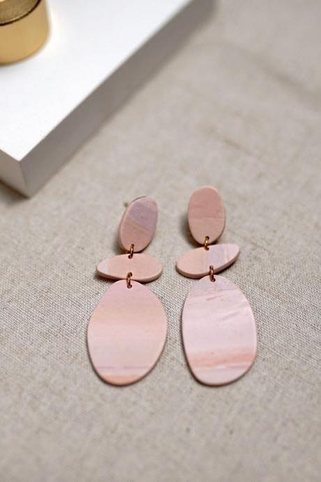 CLAY EARRINGS Sunset Hue Pink Beach Art Deco Dangle Earrings / Unique gift for her