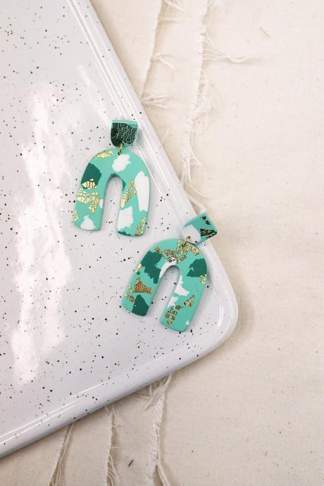 CLAY EARRINGS Mint Green Aesthetic Edgy Art Deco Jewelry
