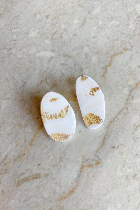 RESIN CLAY EARRINGS White Gold Flakes Trendy Mismatched / Bridal Wedding Stud Earrings