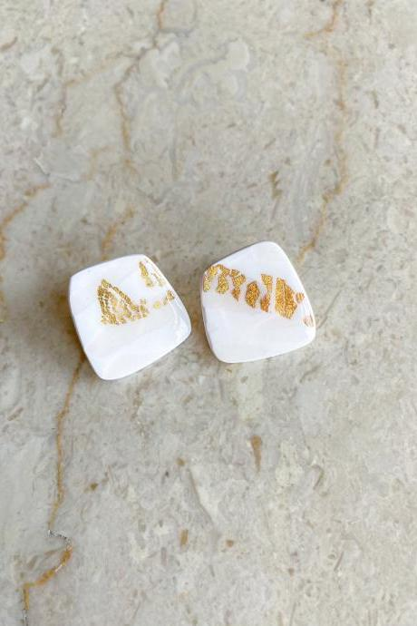 RESIN CLAY EARRINGS Square Stud Jewelry / Bridal Wedding Earrings Stud / Gift for Bridesmaid