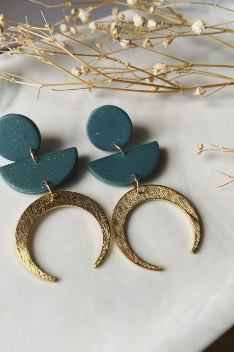 POLY CLAY EARRINGS Forest Green Modern Brass Handmade Jewelry / Unique gift for her