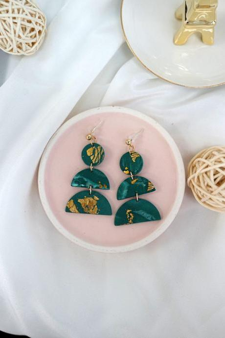 CLAY EARRINGS Emerald Classy Modern Dangle / Handmade Unique Gift