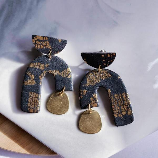 Navy Black Dangle Earrings | Galaxy Polymer Clay Earrings Jewelry